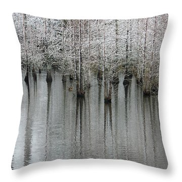 Snow On The Cypresses Throw Pillow by Suzanne Gaff