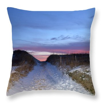 Throw Pillow featuring the photograph Snow On The Dunes by Barbara Ann Bell