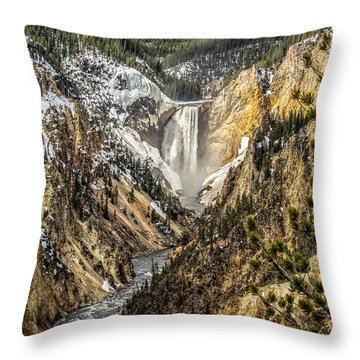 Snow On The Falls Throw Pillow by Yeates Photography