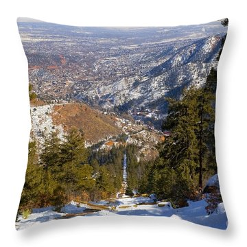 Snow On The Manitou Incline In Wintertime Throw Pillow
