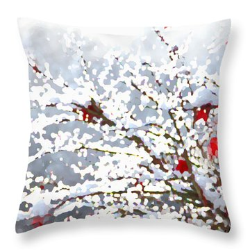 Snow On The Maple Throw Pillow
