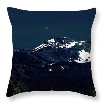 Snow On The Mountain At Night Throw Pillow