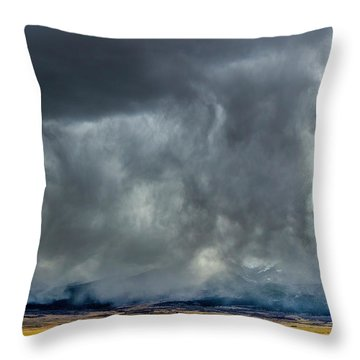Snow On The Rockies Throw Pillow