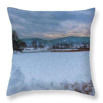 Snow On The West River Throw Pillow