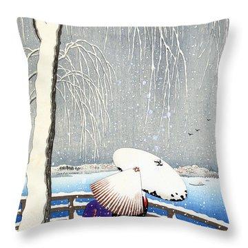 Snow On Willow Bridge By Koson Throw Pillow