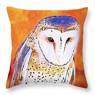 White Face Barn Owl Throw Pillow