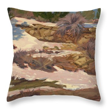 Snow Patch Throw Pillow by Jane Thorpe