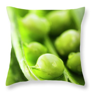 Snow Peas Or Green Peas Seeds Throw Pillow by Vishwanath Bhat