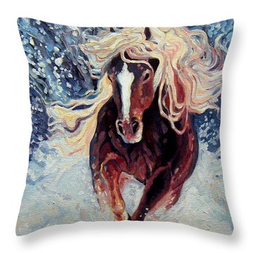 Snow Pony Throw Pillow by Gill Bustamante