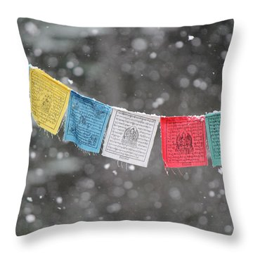Snow Prayers Throw Pillow
