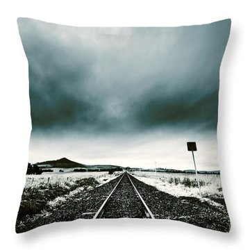 Throw Pillow featuring the photograph Snow Railway by Jorgo Photography - Wall Art Gallery