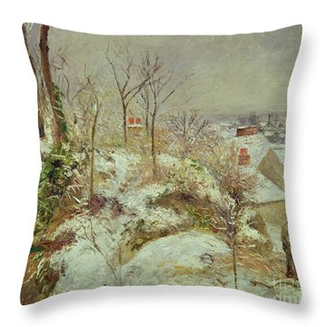 Snow Scene Throw Pillow by Camille Pissarro