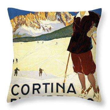 Snow Ski, Southern Alps, Cortina D Ampezzo Throw Pillow