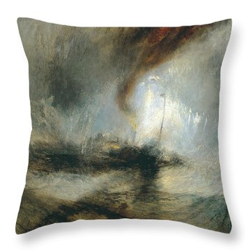 Throw Pillow featuring the painting Snow Storm by Joseph Mallord William Turner