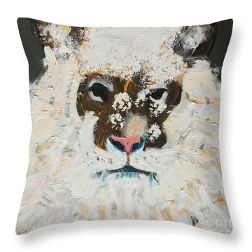 Throw Pillow featuring the painting Snow Tiger by Donald J Ryker III