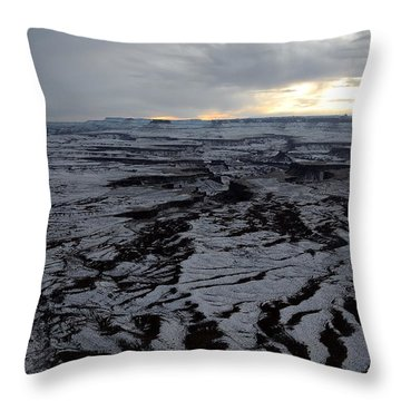 Snow Topped Canyons Throw Pillow
