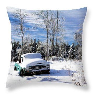 Snow Truck Throw Pillow