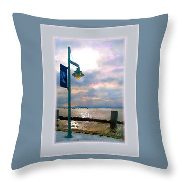 Throw Pillow featuring the photograph Snow Waterfront Park Walk by Felipe Adan Lerma