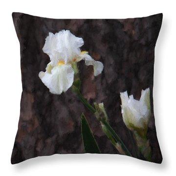 Snow White Iris On Pine Throw Pillow