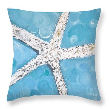 Snow White Starfish Throw Pillow