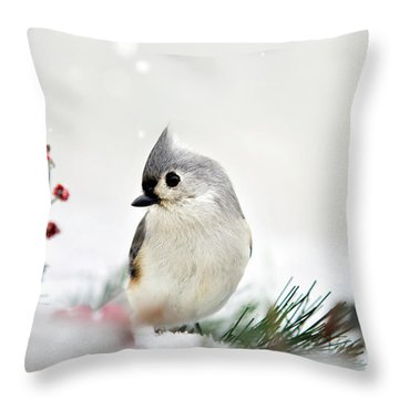 Snow White Tufted Titmouse Throw Pillow by Christina Rollo