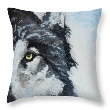Snow Wolf Throw Pillow