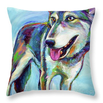 Throw Pillow featuring the painting Snow Wolf by Robert Phelps