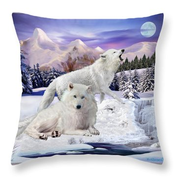 Snow Wolves Of The Wild Throw Pillow