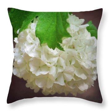 Snowball Bloom Throw Pillow