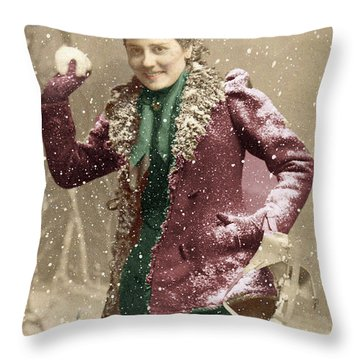 Throw Pillow featuring the photograph Snowball Fight by Lyric Lucas