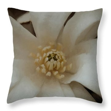 Throw Pillow featuring the photograph Snowball Magnolia by Cathy Donohoue