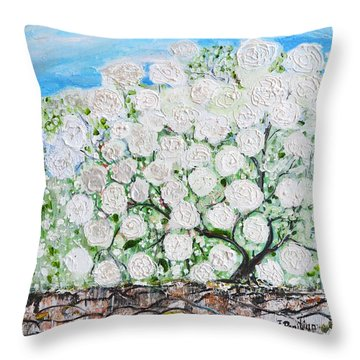 Throw Pillow featuring the painting Snowballs Flowers by Evelina Popilian