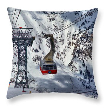 Snowbird Tram Portrait Throw Pillow