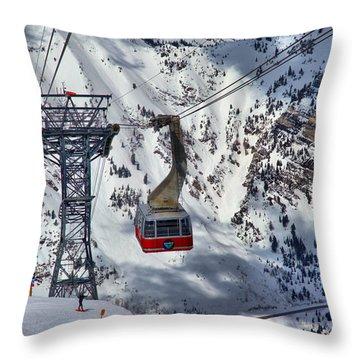 Snowbird Tram Portrait Throw Pillow