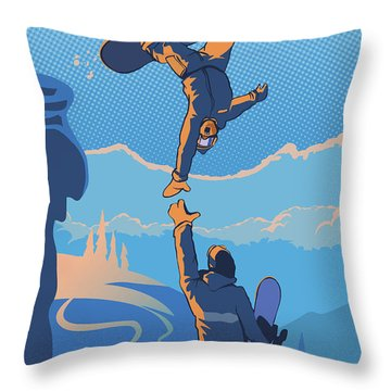 Snowboard High Five Throw Pillow