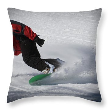 Throw Pillow featuring the photograph Snowboarder On Mccauley by David Patterson