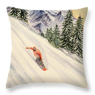 Throw Pillow featuring the painting Snowboarding Free And Easy by Bill Holkham