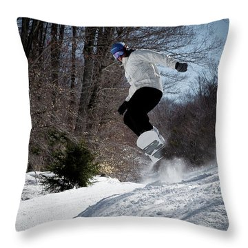 Throw Pillow featuring the photograph Snowboarding Mccauley Mountain by David Patterson