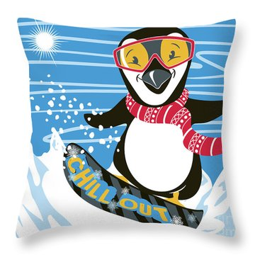 Snowboarding Penguin Throw Pillow