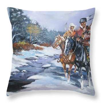 Snowbound Hunters Throw Pillow by Al Brown