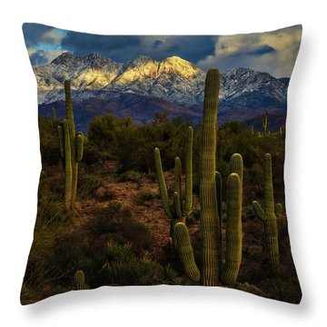 Snowcapped Four Peaks Throw Pillow by Rick Furmanek