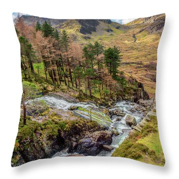 Snowdonia Landscape Winter Throw Pillow by Adrian Evans