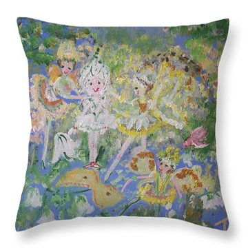 Snowdrop The Fairy And Friends Throw Pillow by Judith Desrosiers
