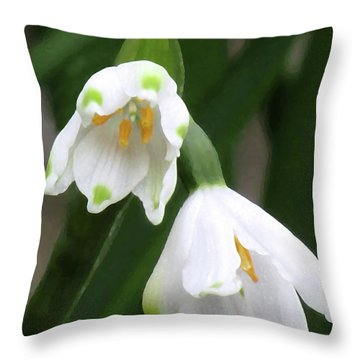Snowdrops #4 Throw Pillow by Kim Tran