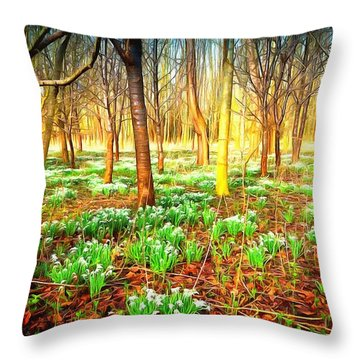 Snowdrops In The Woods Throw Pillow by Mick Flynn