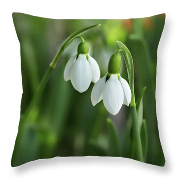 Throw Pillow featuring the photograph Snowdrops by Mary Jo Allen