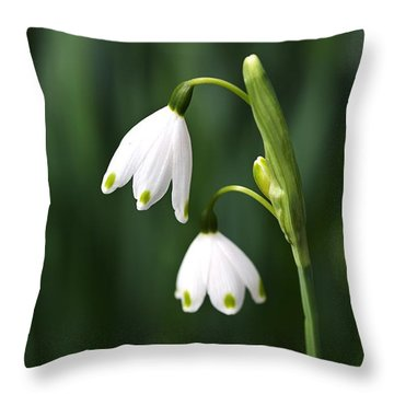Snowdrops Painted Finger Nails Throw Pillow