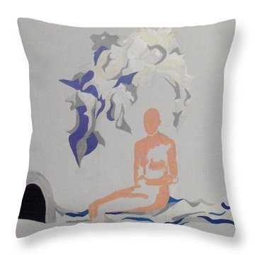 Throw Pillow featuring the painting Snowed by Erika Chamberlin