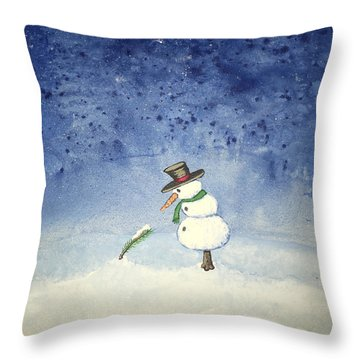 Throw Pillow featuring the painting Snowfall by Antonio Romero