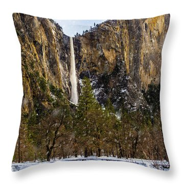 Snowfall Bridalveil Falls Throw Pillow